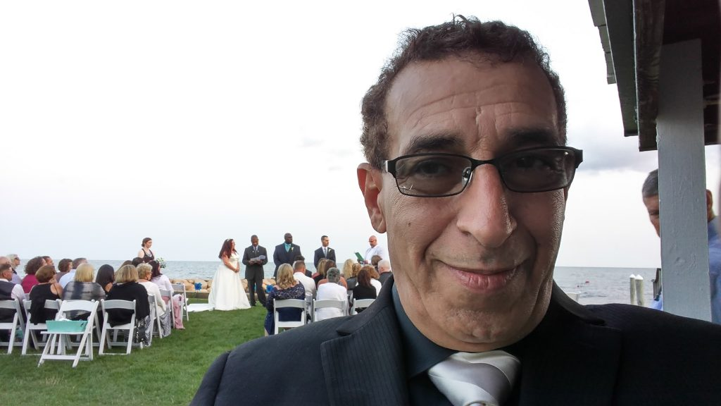 Seaside Wedding Ceremony Selfie at Lighthouse Inn